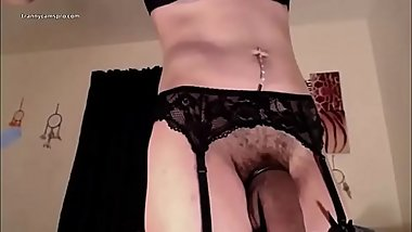 Really Hot Tranny With HUGE Dick Jacks Off ( Sexy )
