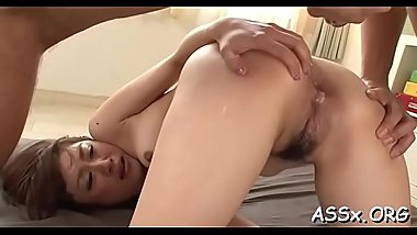 Rough snatch drilling for asian darling with butt plug