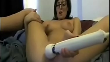 MILF with big tits dildoing her pussy