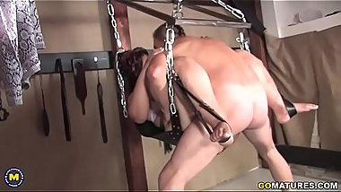 Kinky mature slut gets fucked in her basement