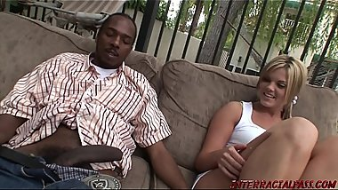Young blonde loves big black cock sex