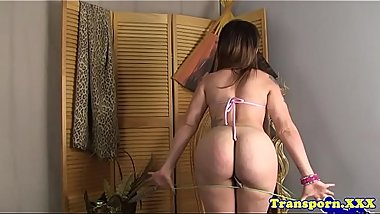 Bootylicious tranny playing with her cock