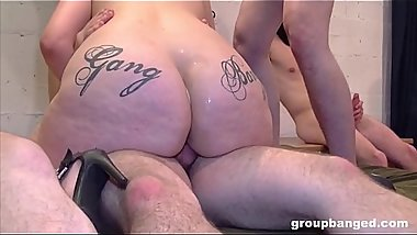 2 bitches getting covered in cum after long group bang