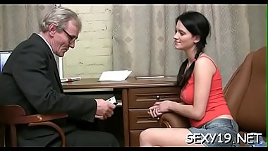 Beauty is having hardcore sofa sex with hungry elderly teacher