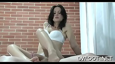 Angel gets her feet licked, pussy rubed and gives footjob