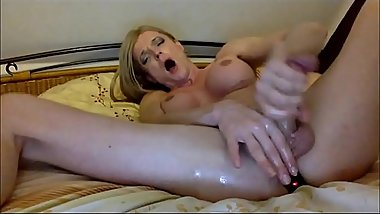 Transsexual Blonde Moans Hard While Masturbating